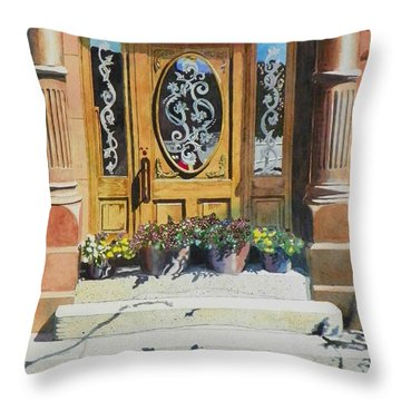 Throw Pillow featuring the painting Clementines Door by LeAnne Sowa