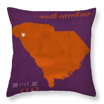 Clemson University Tigers College Town South Carolina State Map Poster Series No 030 Throw Pillow