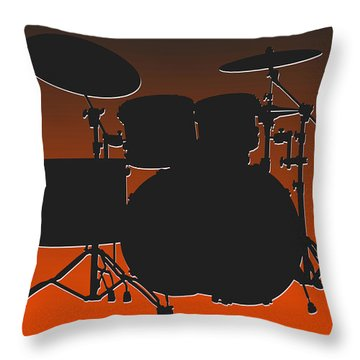 Cleveland Browns Drum Set Throw Pillow by Joe Hamilton