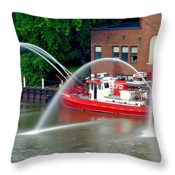 Cleveland Firehouse Throw Pillow by Frozen in Time Fine Art Photography