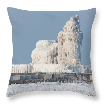 Cleveland Harbor West Pierhead Light Throw Pillow by Clarence Holmes
