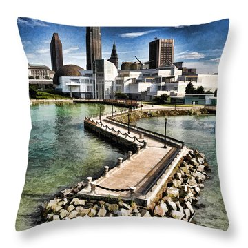 Throw Pillow featuring the photograph Cleveland Inner Harbor - Cleveland Ohio - 1 by Mark Madere