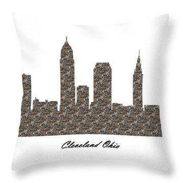 Cleveland Ohio 3d Stone Wall Skyline Throw Pillow