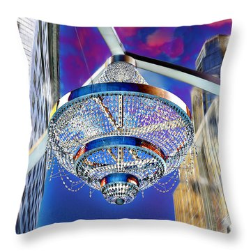 Throw Pillow featuring the photograph Cleveland Playhouse Square Outdoor Chandelier - 1 by Mark Madere