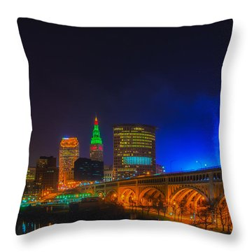 Cleveland Skyline At Christmas Throw Pillow