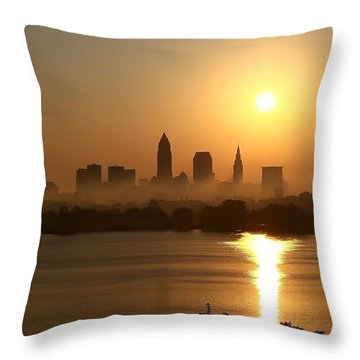 Cleveland Skyline At Sunrise Throw Pillow