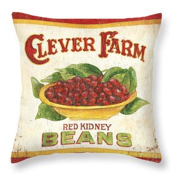 Clever Farms Beans Throw Pillow by Debbie DeWitt