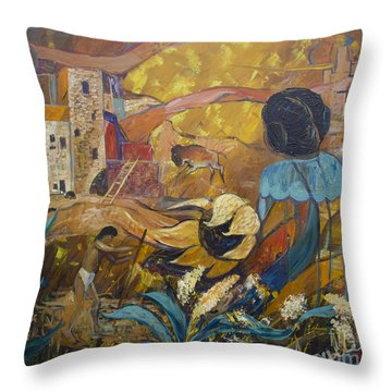 Throw Pillow featuring the painting Cliff Dwellers by Avonelle Kelsey