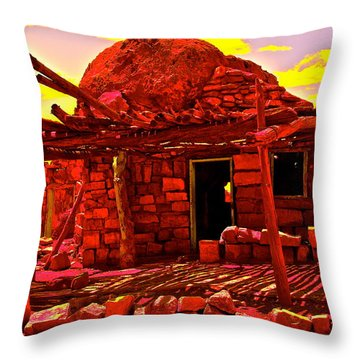 Cliff Dwellers In Red Throw Pillow