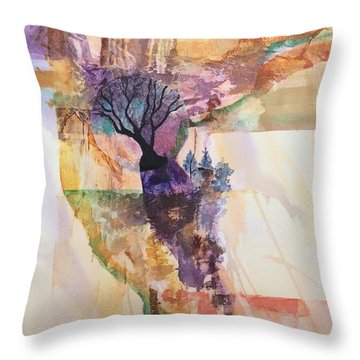 Cliff Oasis Throw Pillow by Barbara Tibbets