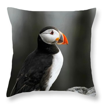 Cliff Top Puffin Throw Pillow
