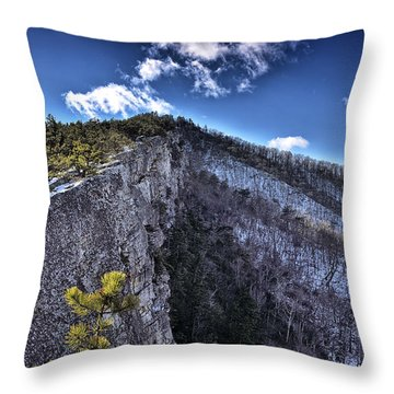 Cliffs Along North Fork Mountain Trail - West Virginia Throw Pillow by Brendan Reals