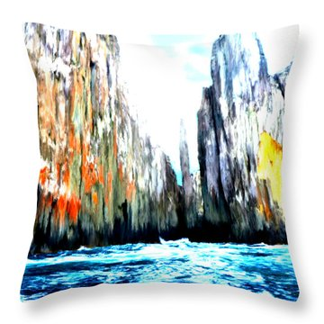 Throw Pillow featuring the painting Cliffs By The Sea by Bruce Nutting