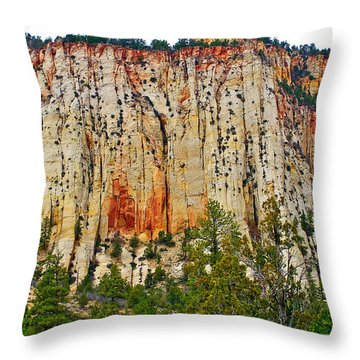 Cliffs Near Checkerboard Mesa Along Zion-mount Carmel Highway In Zion National Park-utah Throw Pillow