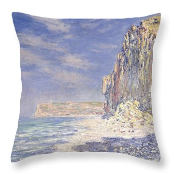 Cliffs Near Fecamp Throw Pillow by Claude Monet