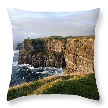 Cliffs Of Moher Evening Light Throw Pillow