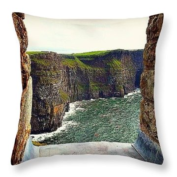 Cliffs Of Moher From O'brien's Tower Throw Pillow by Tara Potts