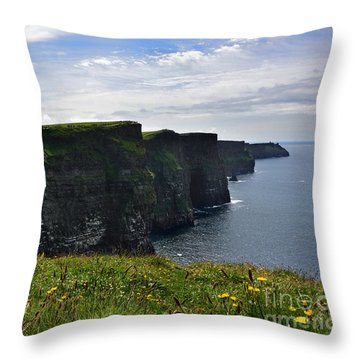 Cliffs Of Moher Looking South Throw Pillow by RicardMN Photography