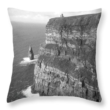 Cliffs Of Moher - O'brien's Tower B N W Throw Pillow