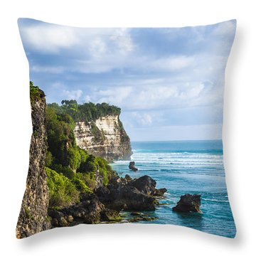 Cliffs On The Indonesian Coastline Throw Pillow