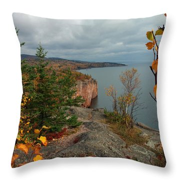 Cliffside Fall Splendor Throw Pillow by James Peterson