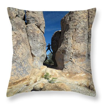 Throw Pillow featuring the photograph Climber City Of Rocks by Martin Konopacki