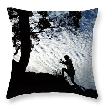 Climbing In The Sky Throw Pillow by Peter Mooyman