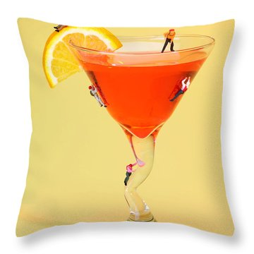 Climbing On Red Wine Cup Throw Pillow