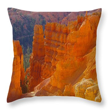 climbing out of the Canyon Throw Pillow by Jeff Swan