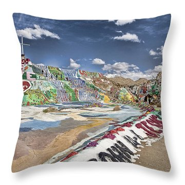 Climbing Salvation Mountain Throw Pillow by Hugh Smith