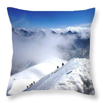 Climbing To The Aiguille Du Midi Throw Pillow