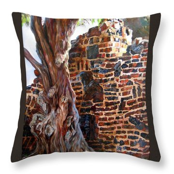 Throw Pillow featuring the painting Clinker Wall by LaVonne Hand