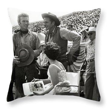 Clint Eastwood  Eric Fleming Characters Rowdy Yates Salinas California 1962 Throw Pillow