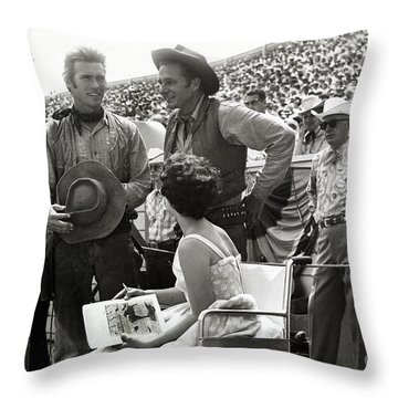 Clint Eastwood  Eric Fleming Characters Rowdy Yates Salinas California 1962 Throw Pillow