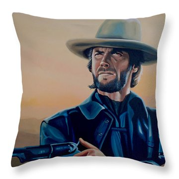 Clint Eastwood Painting Throw Pillow