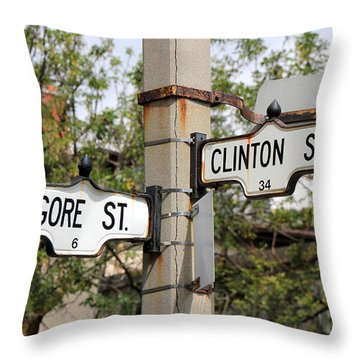Clinton And Gore Throw Pillow by Andrew Fare