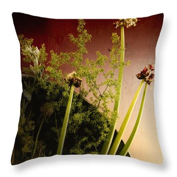 Clipped Stems Throw Pillow by Margie Hurwich