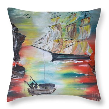 Throw Pillow featuring the painting Clipper Come Home by Denise Tomasura