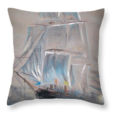 Clipper In Mist Throw Pillow