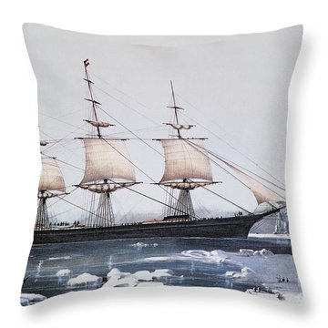 Clipper Ship Red Jacket In The Ice Off Cape Horn On Her Passage From Australia To Liverpool Throw Pillow