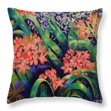 Clivias In Bloom Throw Pillow by Caroline Street