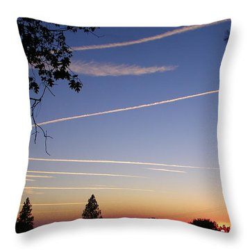 Cloaked Airplanes Throw Pillow by Tom Mansfield
