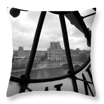 Clock At Musee D'orsay Throw Pillow by Chevy Fleet
