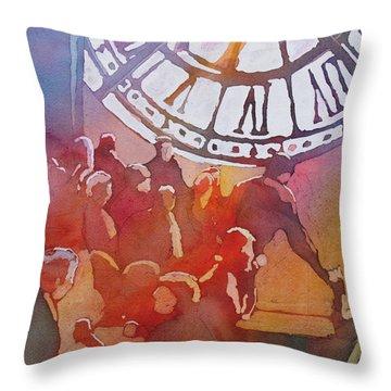 Clock Cafe Throw Pillow
