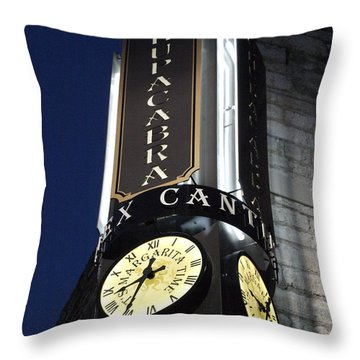 Clock Sign Chupacabra Cantina Throw Pillow