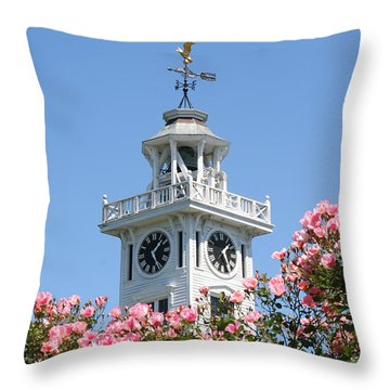 Clock Tower And Roses Throw Pillow