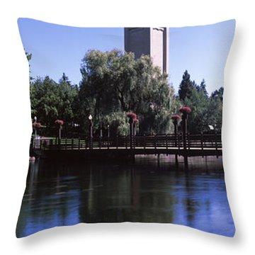 Clock Tower At Riverfront Park Throw Pillow