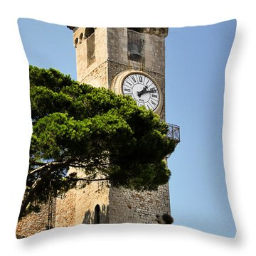 Clock Tower - Cannes - France Throw Pillow by Christine Till