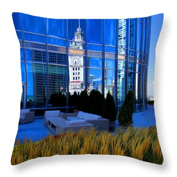 Clock Tower Reflection Throw Pillow