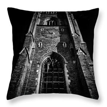 Throw Pillow featuring the photograph Clock Tower Soldiers Tower University Of Toronto Campus by Brian Carson